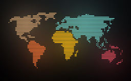 Simple map of the world created lines stock illustration
