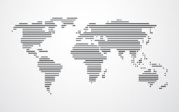 Simple map of the world made up of black stripes Royalty Free Stock Photography