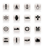 Simple Marine, Sailing and Sea Icons Royalty Free Stock Photography