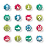 Simple Marine, Sailing and Sea Icons over colored background stock illustration