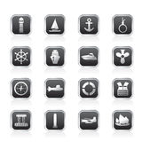 Simple Marine, Sailing and Sea Icons Royalty Free Stock Photo