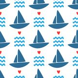 Simple marine seamless pattern. Repeated silhouettes of sailboats, waves and hearts. Endless sea print. Stylish vector illustration Stock Photos
