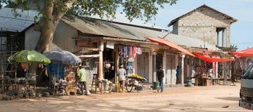 Simple market street in Stone town. ZANZIBAR, TANZANIYA- JULY 16: simple market street with people in Stone townon July 16, 2016 in Zanzibar, Tanzania Stock Photo