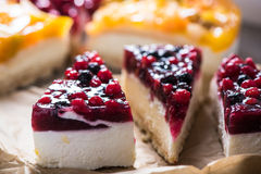 Simple mascarpone cheesecake with winter berry forest fruits Stock Images