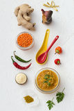 Simple Masoor Dal - Indian Lentils Recipe. Simple Masoor Dal on a White Background - Indian Lentils Recipe Royalty Free Stock Photography