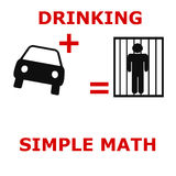 Simple math. Drunk driving poster  black and red Stock Images