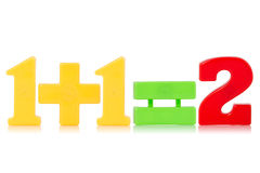 Simple math equation. From a child's toy number set. Isolated on white background royalty free stock photos