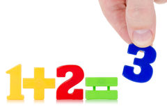 Simple math example. With numbers on the white background Stock Image