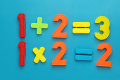 Simple math with magetic numbers. Simple math with child's toy number set Stock Photos