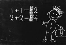 Simple math operation on blackboard. Stock Images