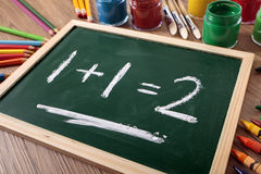 Simple math 1+1=2 on small school blackboard or chalkboard Stock Photo