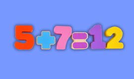 Simple mathematic. Example made from wooden blocks toy. Numbers and signs isolated with path royalty free stock photography