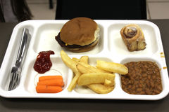 A simple meal of hamburger and fries on a plastic tray royalty free stock photo