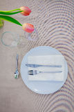 Simple meal table setting, Royalty Free Stock Photography