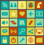 Simple Media Icons. Set of 25 retro colored media icons Stock Photo
