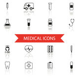 Simple Medical Icons and Symbols Set Isolated with Royalty Free Stock Image