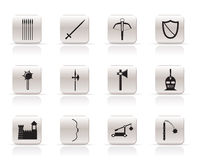 Simple medieval arms and objects icons Royalty Free Stock Images