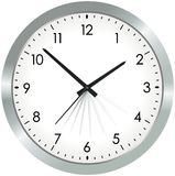 Simple metal analogue clock Royalty Free Stock Images
