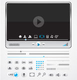 Simple minimal media player with icons Stock Photography