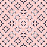 Simple minimalist geometric texture. Vector seamless pattern with small shapes. Squares, rhombuses, flower silhouettes. Abstract background in pink and deep stock illustration