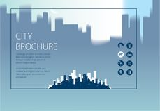Simple minimalistic city skyline traveling tourist guide book. H. Orizontal A4 brochure, flyer, cover, poster or guidebook template. Vector modern illustration Stock Images