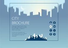 Simple minimalistic city skyline traveling tourist guide book. H. Orizontal A4 brochure, flyer, cover, poster or guidebook template. Vector modern illustration Royalty Free Stock Photos