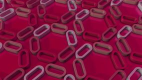 Simple minimalistic 3d loopable render of rotating extruded shapes. Crimson Red ovals, links.