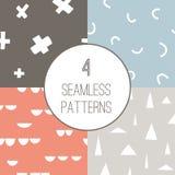 4 simple minimalistic seamless geometric patterns stock illustration