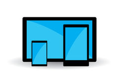 Simple mobile devices symbols with blue screens. Stock Photos