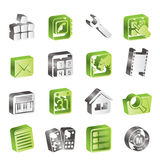 Simple Mobile Phone and Computer icons Stock Photo
