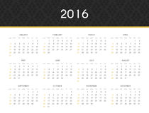 Simple modern calendar 2016 in English . Ready for print design. Stylish retro calendar for 2016 with an ornament . Week starts from Sunday. Template with a Royalty Free Stock Images