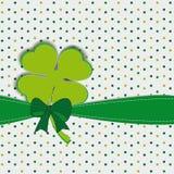 Simple modern card with four-leaf clover. Cute card with four-leaf clover on st. Patrick's day Stock Photo