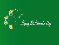 Simple modern card with four-leaf clover. Cute card with four-leaf clover on st. Patrick's day Stock Photography