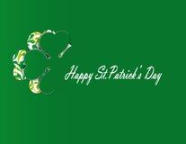 Simple modern card with four-leaf clover. Cute card with four-leaf clover on st. Patrick's day stock illustration