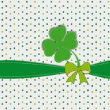 Simple modern card with four-leaf clover. Cute card with four-leaf clover on st. Patricks day royalty free illustration