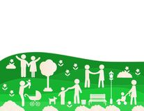 Simple and modern ecological family pictogram. Ecological pictograms showing figures happy family, blue, green and white colors Stock Image