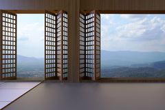 Simple Modern Japanese living room Clean window and views of mountains and sky Royalty Free Stock Photography