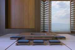 Simple Modern Japanese living room and Tabletop Seats Minimal Contemporary Art Royalty Free Stock Images