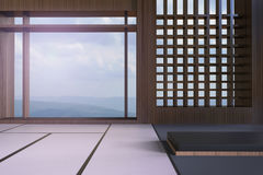 Simple Modern Japanese living room and window views of the mountains and the sky Stock Photo