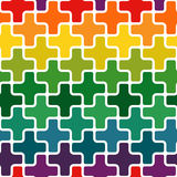 Simple modern rainbow colored repeating background with a structure of colorful crosses Royalty Free Stock Image