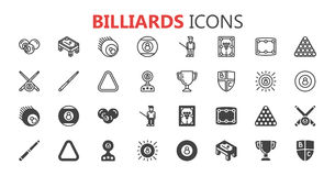 Simple modern set of billiards icons. Premium collection. Vector illustration. Royalty Free Stock Photo