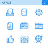 Simple Modern Set of Business Blue Color Line Icons. nBusiness Meeting, Office document, Agreement, Settings, Bar Chart Stock Images