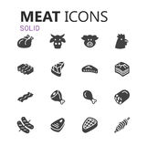 Simple modern set of meat icons. Eps 10 Stock Photography