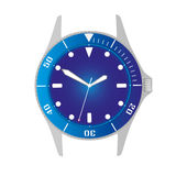 Simple modern sport divers style blue watch case and dial object eps10 Stock Photos
