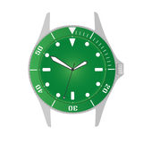 Simple modern sport divers style green watch case and dial object eps10 Royalty Free Stock Photos
