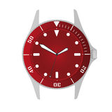 Simple modern sport divers style red watch case and dial object eps10 Stock Photo