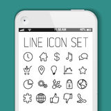 Simple Modern thin icon collection for smart phone applications Royalty Free Stock Photo