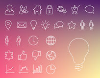 Simple Modern thin icon collection Royalty Free Stock Photography