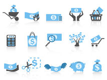 Simple money icon,blue series. Isolated simple money icon,blue series from white background Stock Image