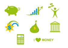 Simple money icons. Finance and banking icons. Logos for savings and banking transactions. Green vector icons. Icons for your business. Logo for the banking Stock Photos